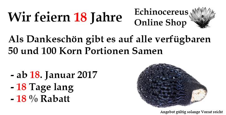 18 Jahre Echinocereus Online Shop